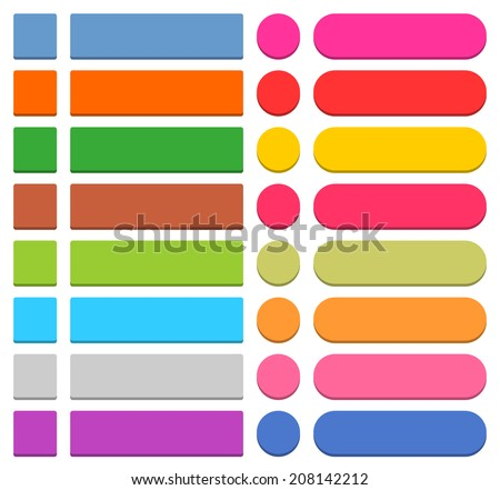 32 blank icon in flat 3-d style button square, rectangle, circle shapes on white background. Blue, red, yellow, green, pink, orange, brown, violet colors. Vector illustration web design save 8 eps - stock vector