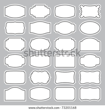 24 blank labels set, vector - stock vector