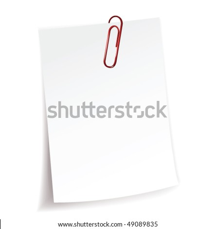 Blank note paper and red paper-clip - stock vector