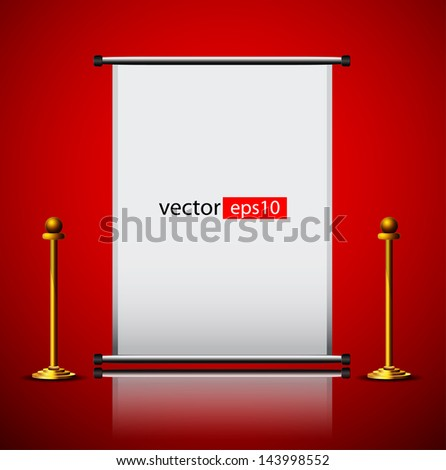 blank roll up banner on red background - stock vector