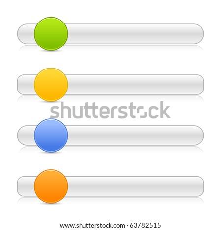 4 blank round shape navigation web 2.0 button slider on white background - stock vector