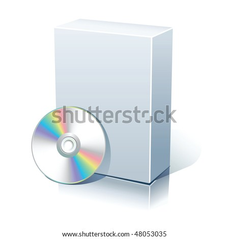 Blank software box with  disc isolated on white. - stock vector