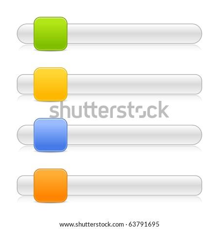 4 blank square shape navigation web 2.0 button slider on white background - stock vector