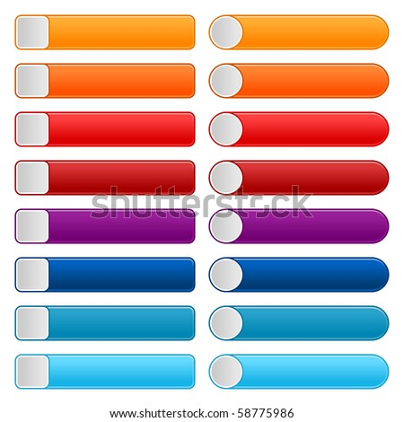 16 blank web 2.0 button navigation panel. Colorful rounded rectangle shapes on white background - stock vector