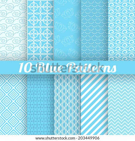 10 Blue different seamless patterns (tiling). Vector illustration for abstract aqua design. Endless texture can be used for fills, web page background, surface. Set of wallpaper with waves. - stock vector