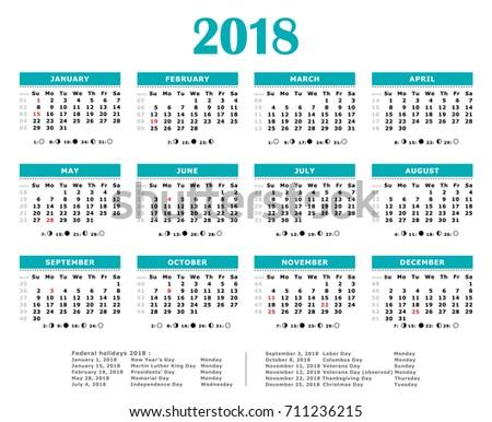 2018 Blue Green Vector Yearly Calendar Stock Vector HD (Royalty