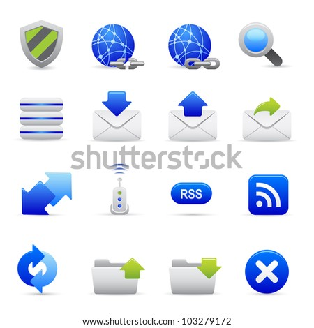 Blue Internet Icons Professional vector set for your website, application, or presentation. The graphics can easily be edited colored individually and be scaled to any size - stock vector