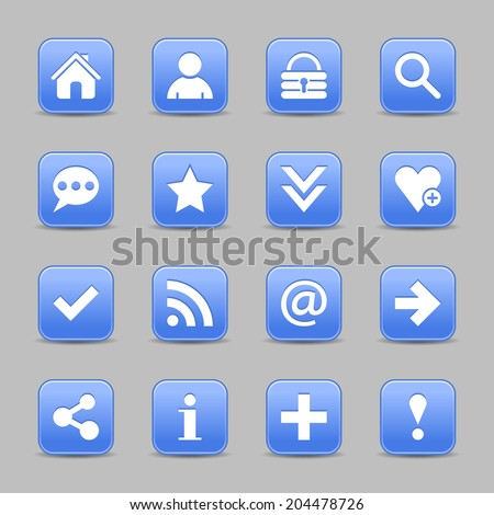 16 blue satin icon with white basic sign on rounded square web button with black shadow on gray background. Vector illustration internet design element save in 8 eps - stock vector