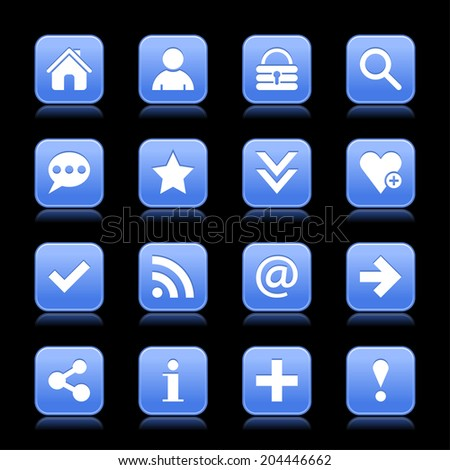 16 blue satin icon with white basic sign on rounded square web button with color reflection on black background. This vector illustration internet design element save in 8 eps - stock vector