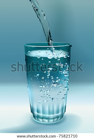 blue water is flowing into the glass forming bubbles and splashes - stock vector