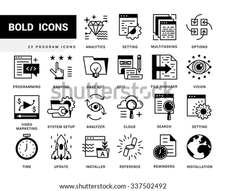 Bold vector icons in a modern style. Linear elements with potting black. Programs and Features, windows applications, browser, pages prototyping interface, application programming. - stock vector