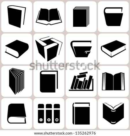 16 book icons set - stock vector