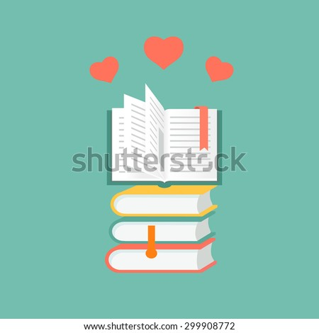 books in flat design.  Literature and library, education and science, knowledge and study, vector illustration - stock vector