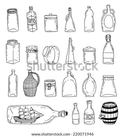 Bottle set doodle, vector illustration - stock vector