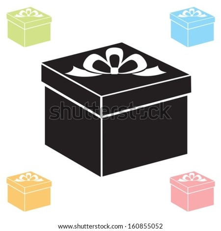 Box with a bow. Vector. EPS-10 (non transparent elements,non gradient)