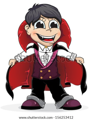 Boy dressed as a vampire on a white background. Halloween character - stock vector
