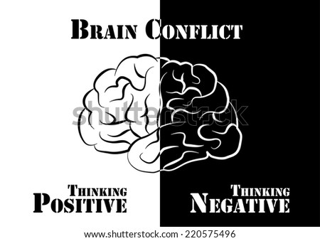 """""""Brain Conflict""""  The human have both positive and negative thinking. - stock vector"""