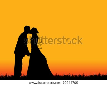 bride and groom silhouette kissing in  beautiful orange-red sunset sky as background - stock vector