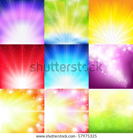 9 Bright Background With Rays And Stars - stock vector