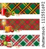 3 bright Christmas banners - stock vector