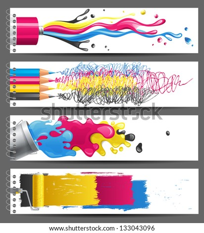 4 bright CMYK banners - stock vector