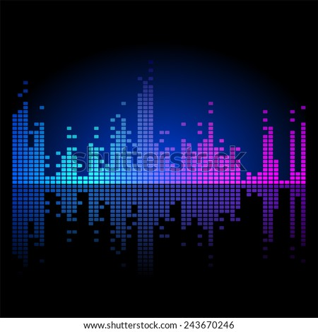 3 bright equalizers over black background - stock vector