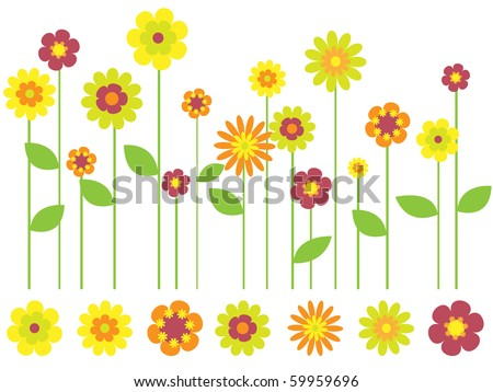 bright flower border and individual flowers - stock vector