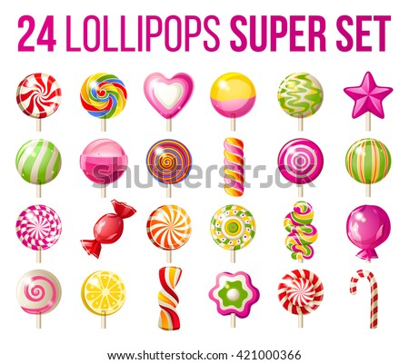 24 bright lollipops icons over white background - super set of lollipops - stock vector