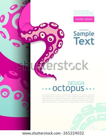 Bright octopus. Flyer design template - stock vector