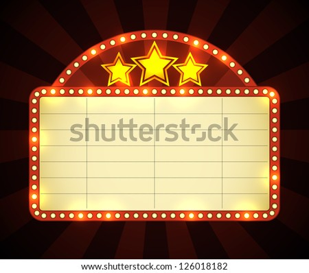 Brightly glowing retro cinema neon sign. EPS10 vector. - stock vector