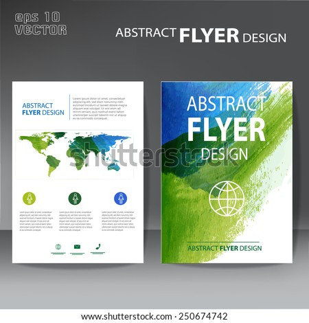 brochure, flyer modern watercolor template