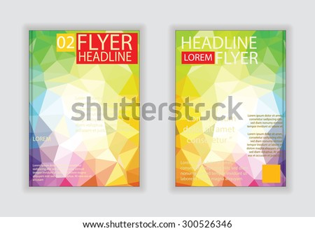 brochure template vector background flyer design with blue label concept elements silver label idea - stock vector