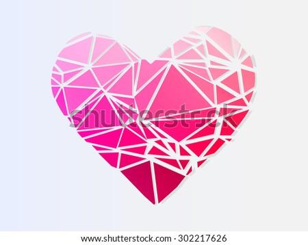 broken heart. low-poly vector illustration - stock vector