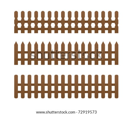 3 brown fence - stock vector