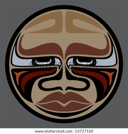 """Buffalo Face"" a Native American mask vector graphic with earth tone harmonic colors - stock vector"