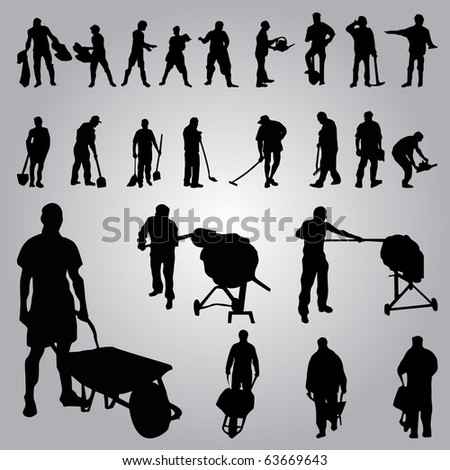 builder worker silhouettes - stock vector