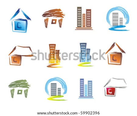 Buildings icons. - stock vector
