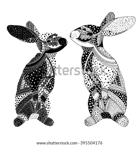 Bunny pair - Doodle illustration  of rabbits  on simple background - stock vector
