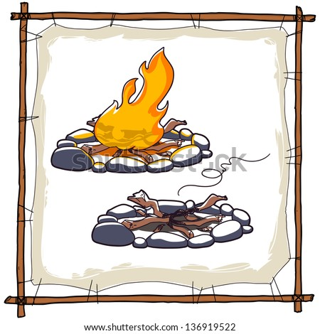 burning bonfire on white background. campfire ashes - stock vector