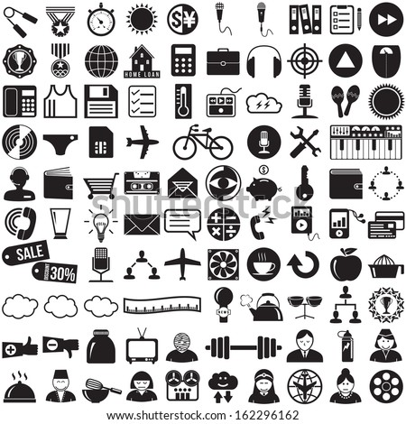 97 Business and computer icons set, vector format  - stock vector
