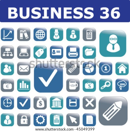 36 business buttons. vector - stock vector