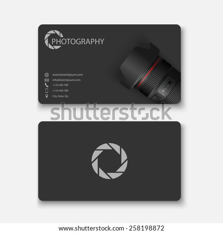 Business card template,photography,vector - stock vector