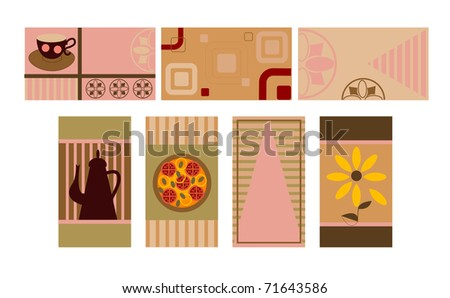 7 business cards - stock vector