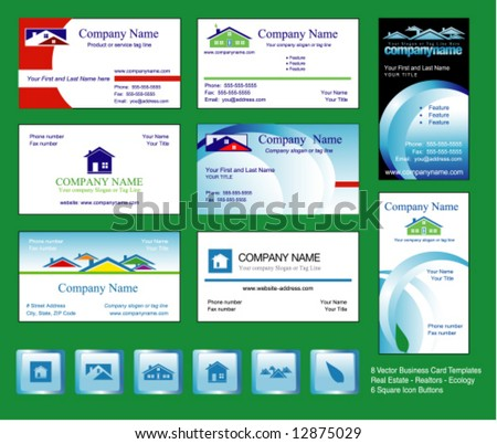 8 Business Cards - Vector Template for eco-friendly Real Estate/Realtors, with 6 matching icon buttons. - stock vector
