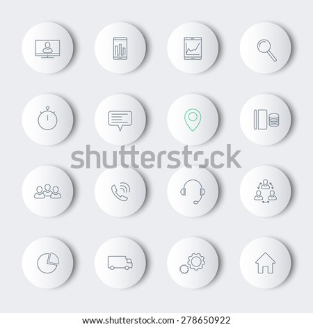 16 business, commerce, finance, line modern icons on round shapes with shadows, vector illustration, eps10, easy to edit - stock vector