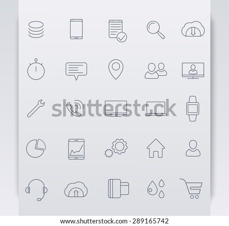 25 business, commerce, line blue icons, vector illustration, eps10, easy to edit - stock vector