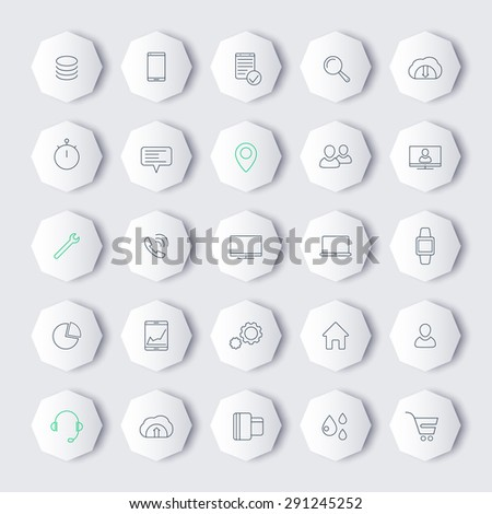 25 business, commerce, line octagon icons, vector illustration, eps10, easy to edit - stock vector