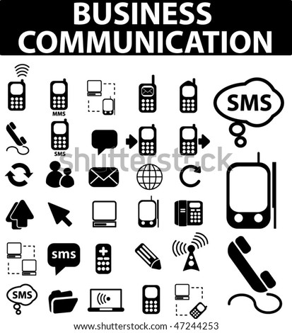 30 business communication signs. vector