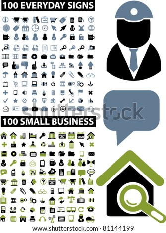 200 business & everyday icons, signs, vector illustrations - stock vector