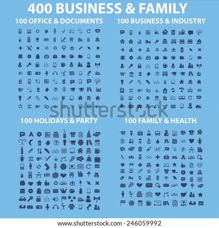 400 business, family, holidays, health, travel, industry, office, holidays, party, music, application, interface, application icons, signs, illustrations set, vector - stock vector